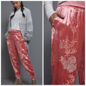 Anthropologie Rosie Embroidered Velvet Joggers New With Tags